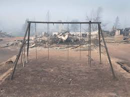 A playground destroyed by fire